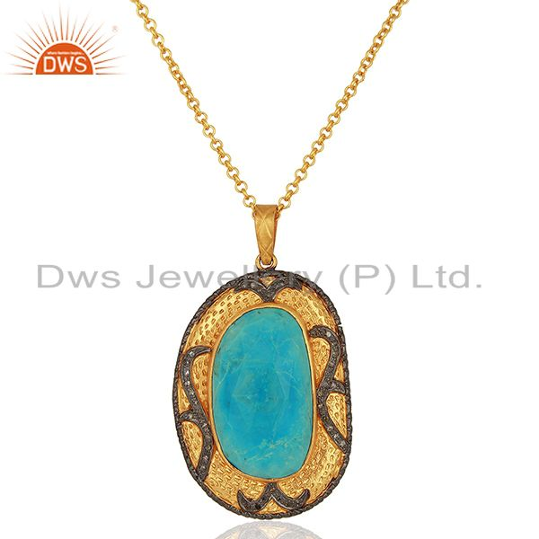 925 sterling silver pave diamond natural turquoise gemstone pendant necklace
