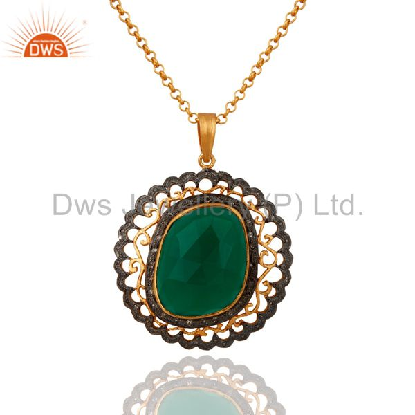 18k gold over 925 sterling silver green onyx pave diamond pendant necklace