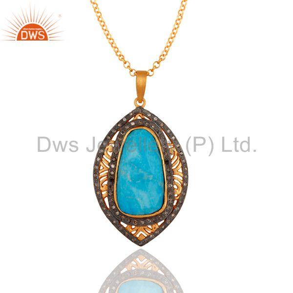 18k Gold Over Sterling Silver Turquoise Gemstone Pave Diamond Designer Pendant