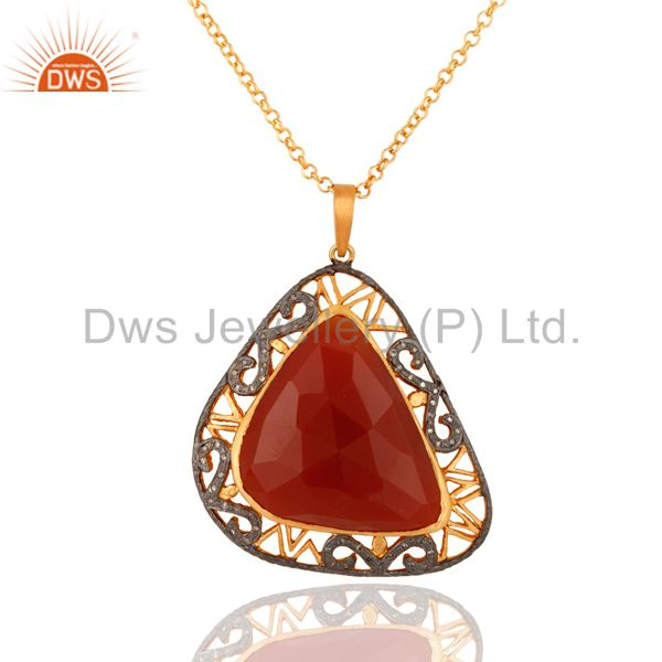 Designer 925 Sterling Silver Pave Diamond Red Onyx Gemstone Pendant With Chain