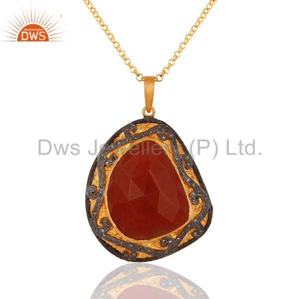 Faceted Red Onyx 925 Sterling Silver Studded Natural Diamond Pendant Necklace