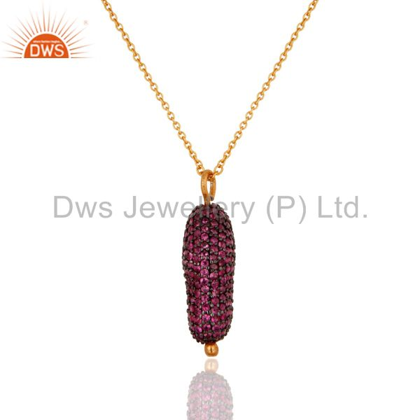 925 Sterling Silver Ruby Pave Gemstone Designer Pendant With 16