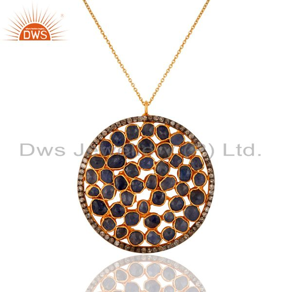 Handmade 925 sterling silver pave diamond blue sapphire gemstone pendant chain