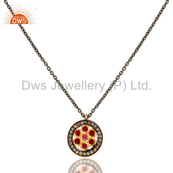 Pave Diamond and Natural Ruby Sterling Silver Black Oxidized Round Pendant