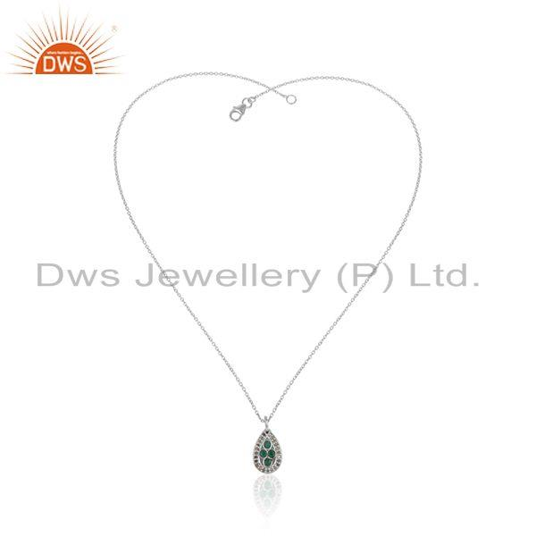 Natural emerald diamond designer sterling silver chain pendant