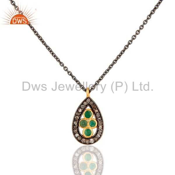 Designer 925 sterling silver pave set diamond emerald gemstone pendant necklace