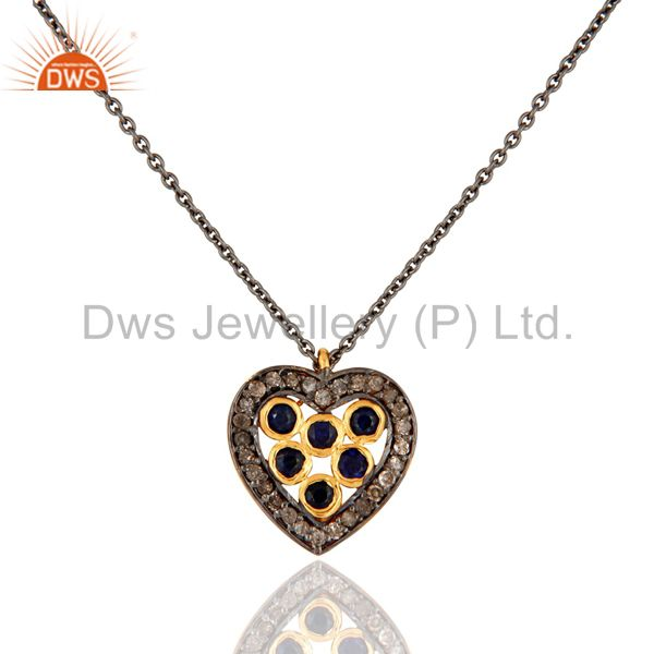 925 Sterling Silver Pave Diamond Blue Sapphire Heart Design Pendant Necklace