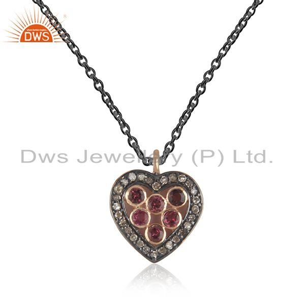 Rose Gold Plated 925 SIlver Pave Diamond Heart Gift Pendant Jewelry Manufacturer