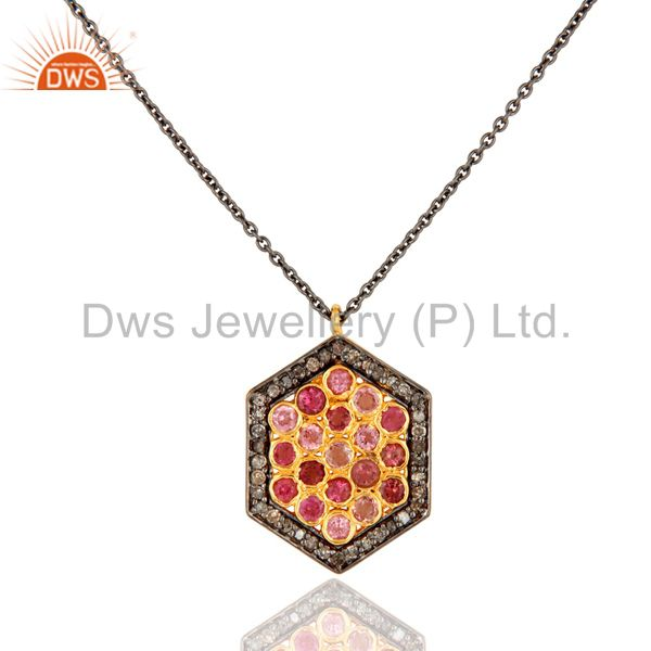 Diamond Pave Sterling Silver Pink Tourmaline Gemstone Fashion Pendant Necklace
