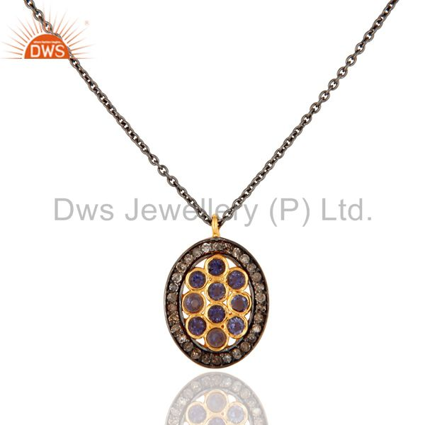 Designer iolite gemstone pave diamond 925 sterling silver women pendant necklace
