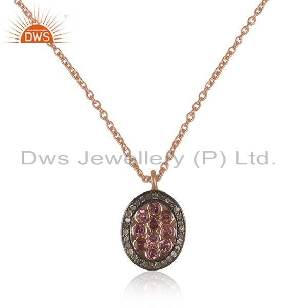 Tourmaline Pave Diamond Rose Gold Plated Silver Chain Pendant Jewelry