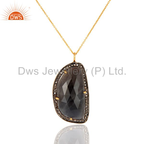 18K Gold On 925 Silver Diamond Pave Blue Sapphire Drop Pendant Gemstone Jewelry