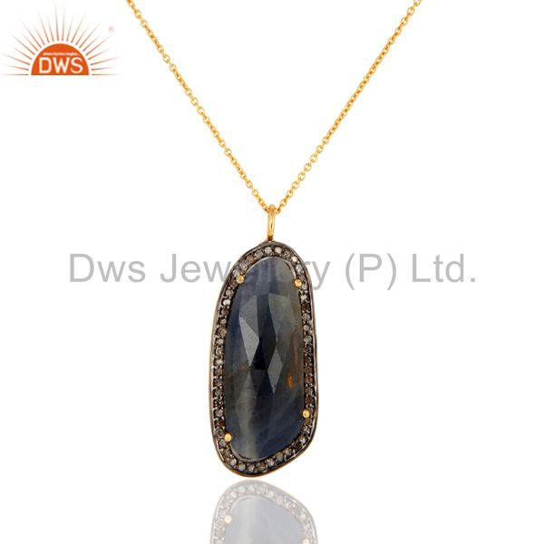 18K Gold Over Sterling Silver Studded With Diamond And Blue Sapphire Pendant