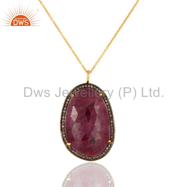 18k gold plating sterling silver chain necklace with pave diamond & ruby pendant