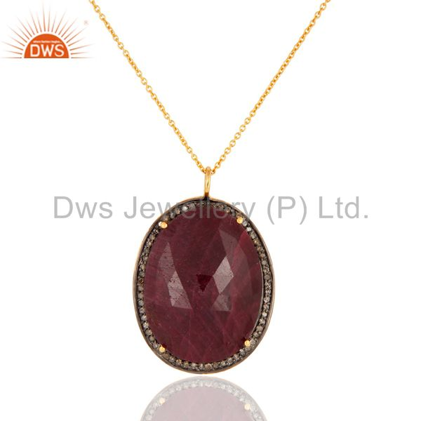 Gold Plated 925 Sterling Silver Natural Ruby And Diamond Accent Pendant Necklace