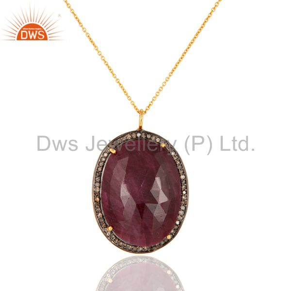 Natural Ruby Gemstone Gold Plated Sterling Silver Pave Diamond Pendant Necklace