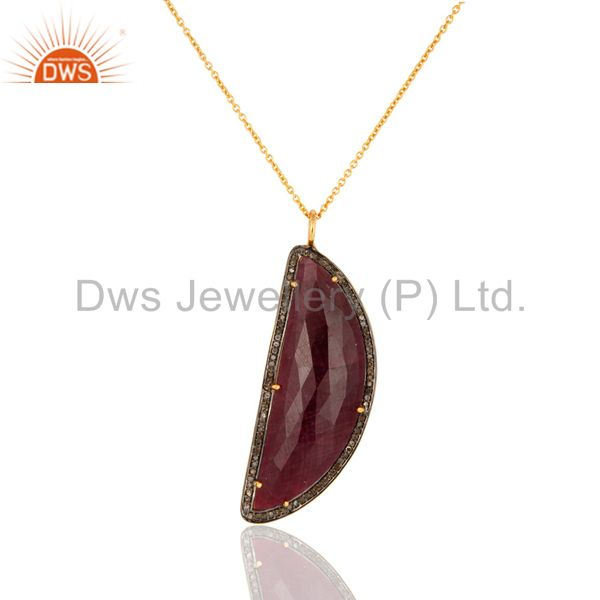 Pave Diamond And Ruby Gemstone Necklaces & Pendant Sterling Silver Fine Jewelry