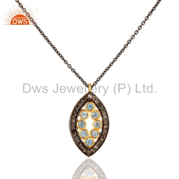 """Rhodium plated sterling silver diamond accent blue topaz pendant 16"""" in necklace"""