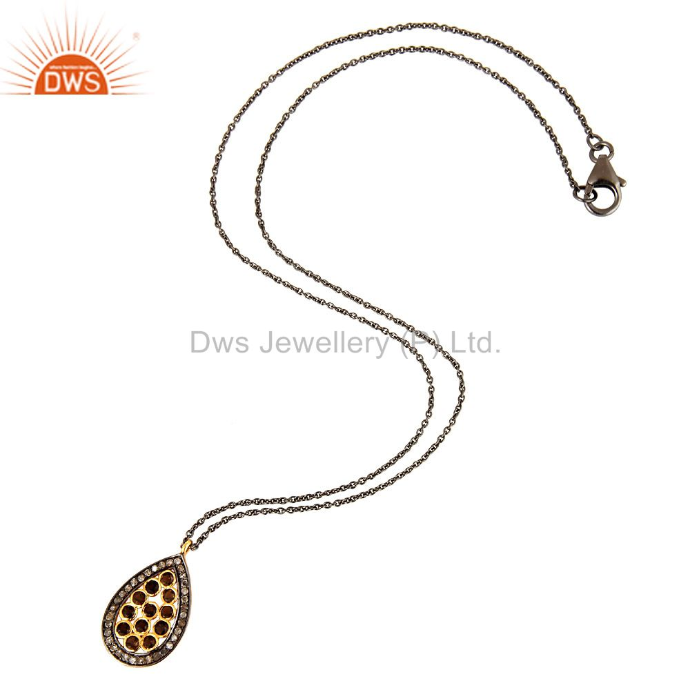 18K Gold On Sterling Silver Smoky Quartz & Diamond Pave Drop Pendant With Chain