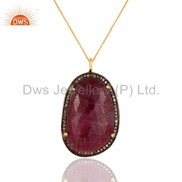 18K Gold On Sterling Silver Faceted Ruby Pave Diamond Pendant Necklace