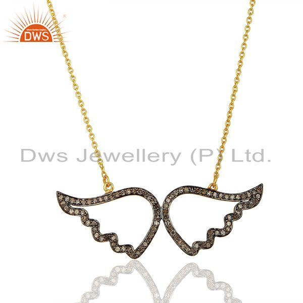 Handmade Pave Set Diamond Sterling Silver Angel Feather Wing Pendant Necklace