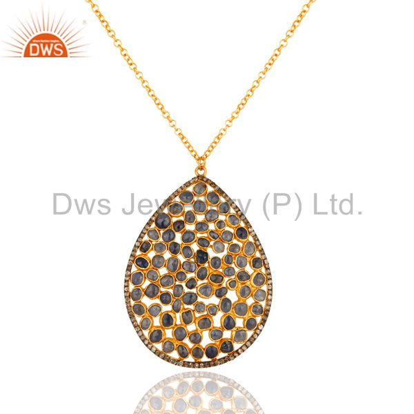 Pave Diamond Blue Sapphire Handmade Pendant Necklace In 18K Gold Over Silver