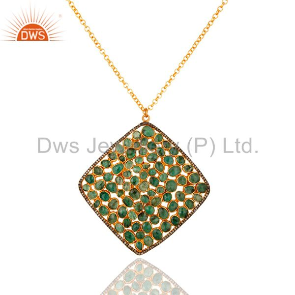Handmade 18K Gold On Sterling Silver Emerald Diamond Pave Designer Pendant