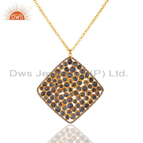 Natural Blue Sapphire Gemstone 18K Gold On Sterling Silver Pave Diamond Pendant