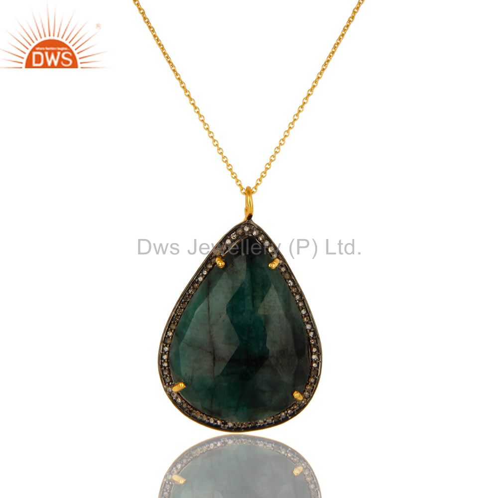 14K Yellow Gold Sterling Silver Pave Diamond Emerald Gemstone Pendant With Chain
