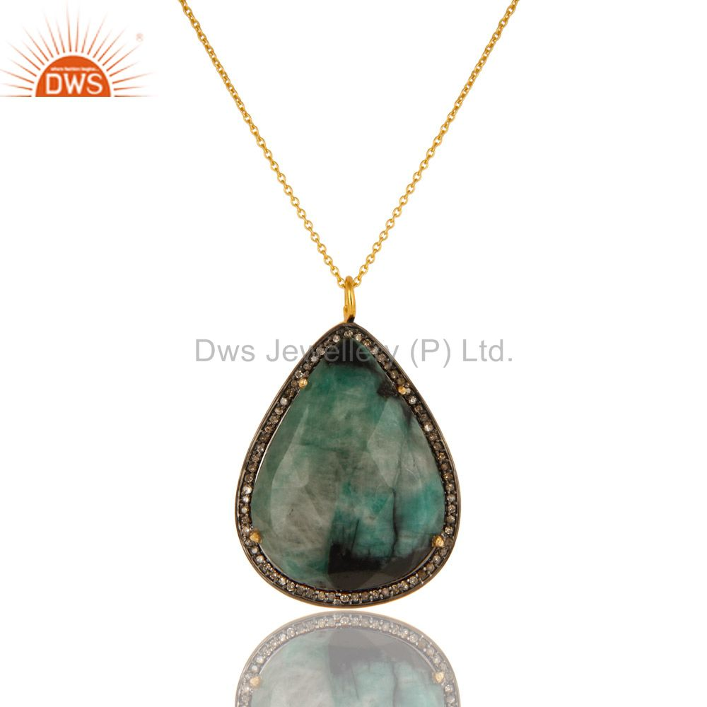 18K Yellow Gold Sterling Silver Emerald And Pave Diamond Pendant With Chain
