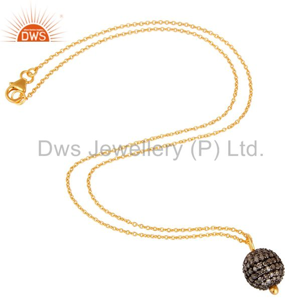 pave Diamond Set 18K Gold Plated Sterling Silver Ball Pendant Necklace