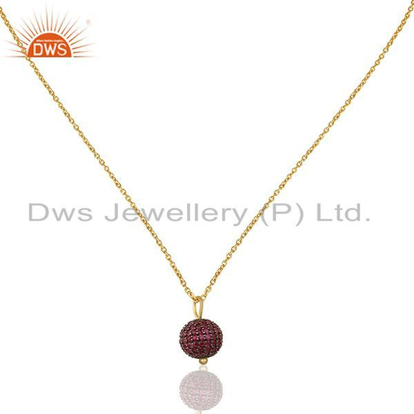 Natural Ruby Beads Ball 925 Silver Gold Plated Pendant Manufacturers