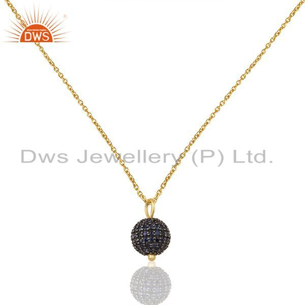 Sterling silver natural blue sapphire beads ball pendant wholesale