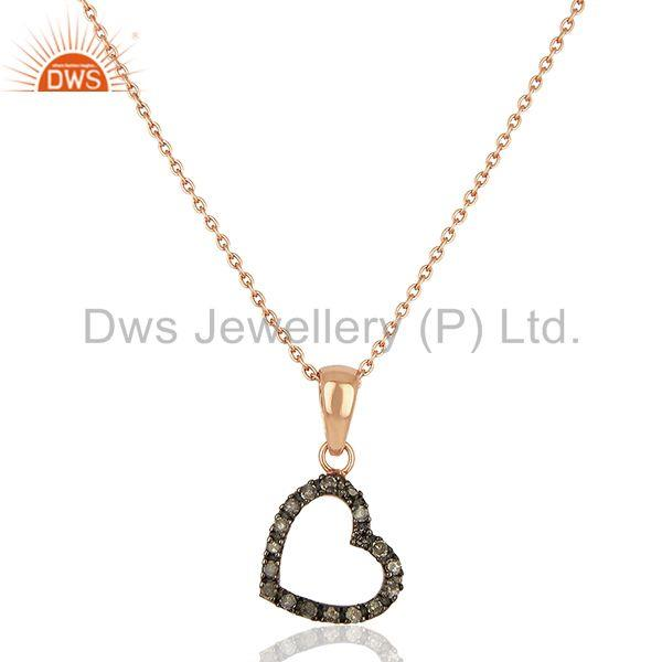 Heart Shape Pave Diamond Rose Gold Plated Pendant Jewelry Supplier