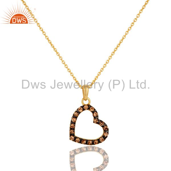 Spessartite Heart Shape 18K Gold Plated Sterling Silver Pendant Necklace