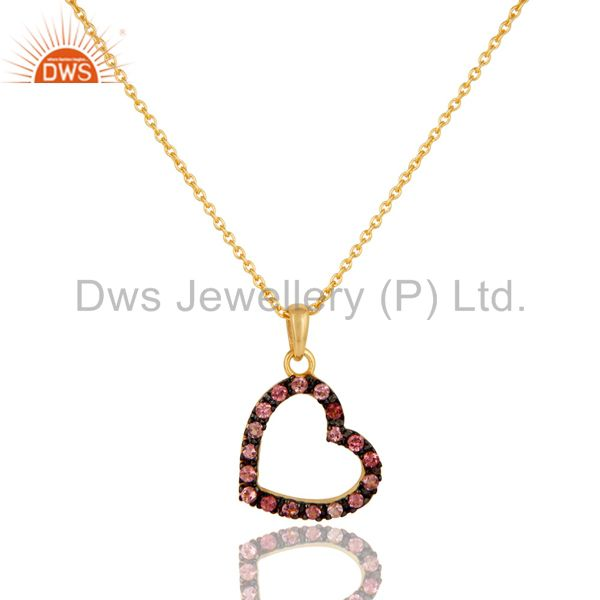 Pink Tourmaline Heart Shape 18K Gold Plated Sterling Silver Pendant Necklace