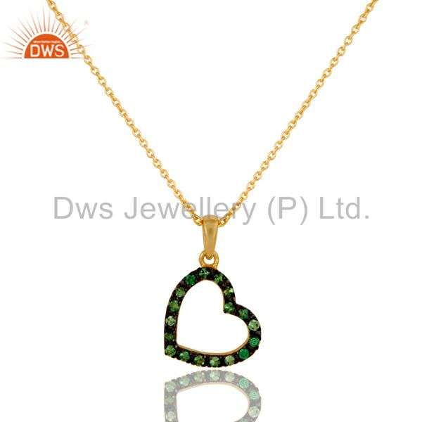 Tsavourite heart shape 18k gold plated sterling silver pendant necklace