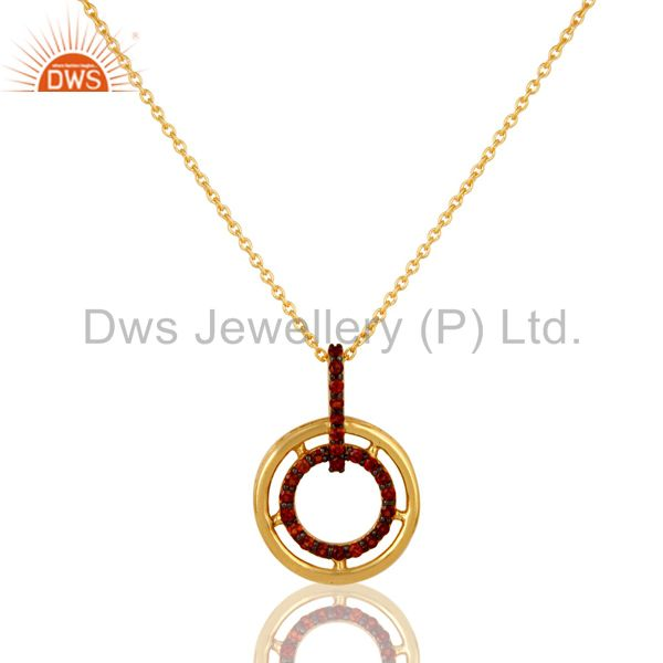 Garnet 18K Gold Plated Sterling Silver Gemstone Pendant Necklace