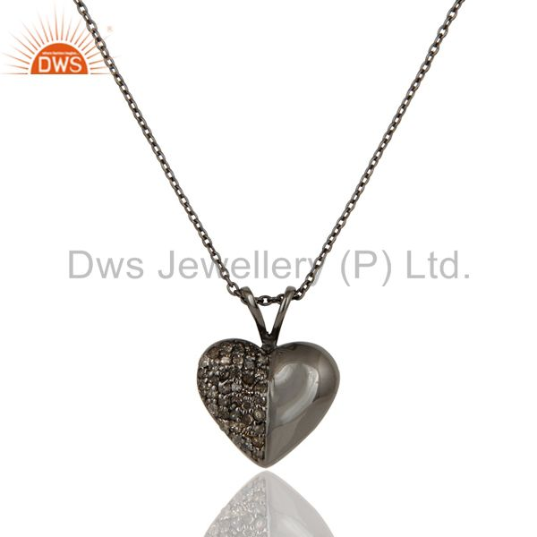 Black Oxidized With Diamond Cut Sterling Silver Gemstone Pendant Necklace
