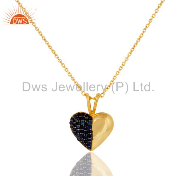 Blue sapphire 18k gold plated sterling silver heart shape pendant necklace