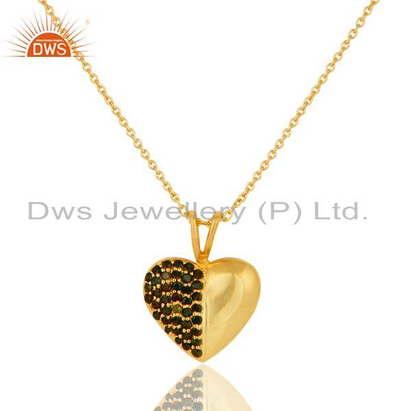 Green Tourmaline 18K Gold Plated Sterling Silver Heart Shape Pendant Necklace