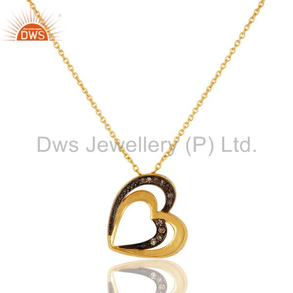 18K Gold Plated Sterling Silver Diamond Heart Shape Pendant Necklace
