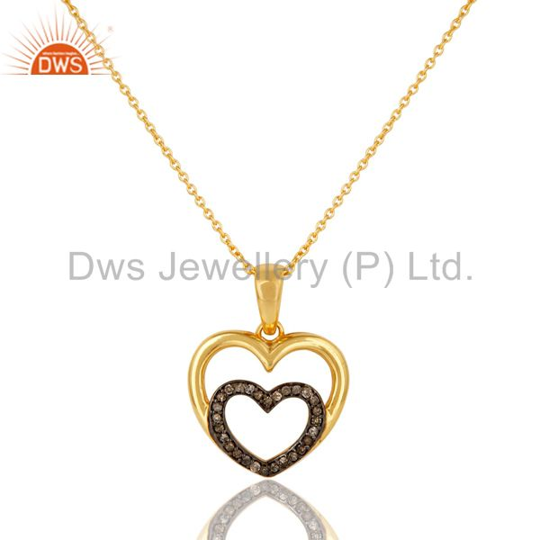 Heart Shape Diamond and 18K Gold Plated Sterling Silver Pendant Necklace