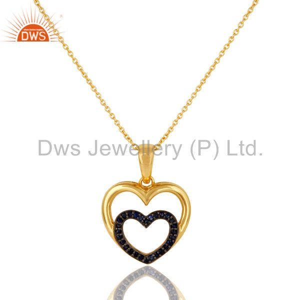 Heart Shape Blue Sapphire and 18K Gold Plated Sterling Silver Pendant Necklace