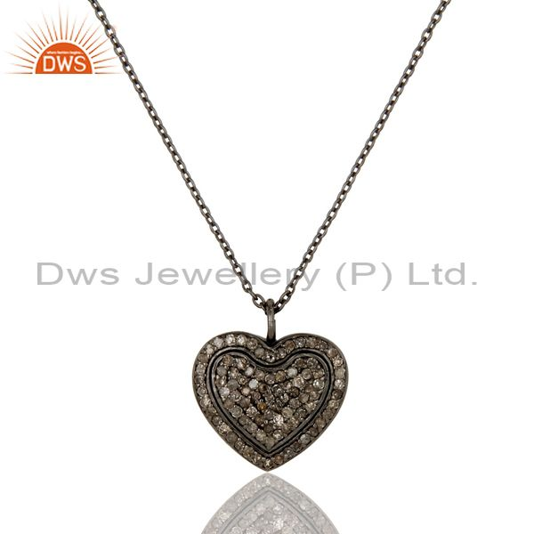 Black Oxidized Sterling Silver Diamond Heart Design Chain Pendant Necklace
