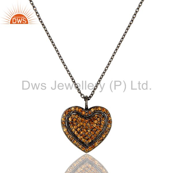 Spessartite Heart Shape Pendant 925 Sterling Silver Necklace