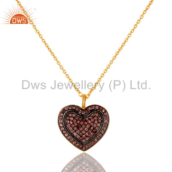 Pink tourmaline heart shape pendant 18k gold plated sterling silver necklace
