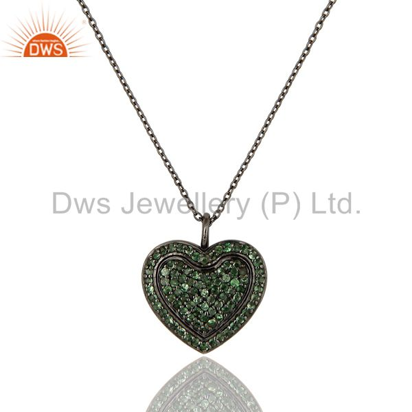 Tsavourite Heart Shape Pendant 925 Sterling Silver Necklace
