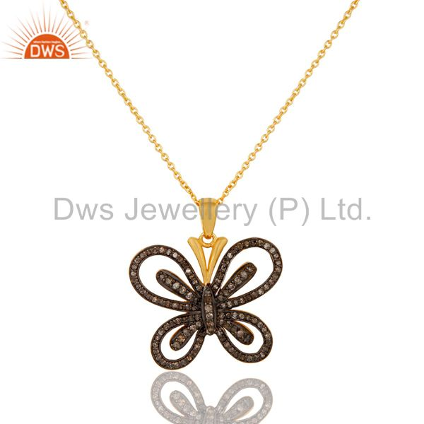 Diamond and 18k gold plated sterling silver butterfly pendant necklace