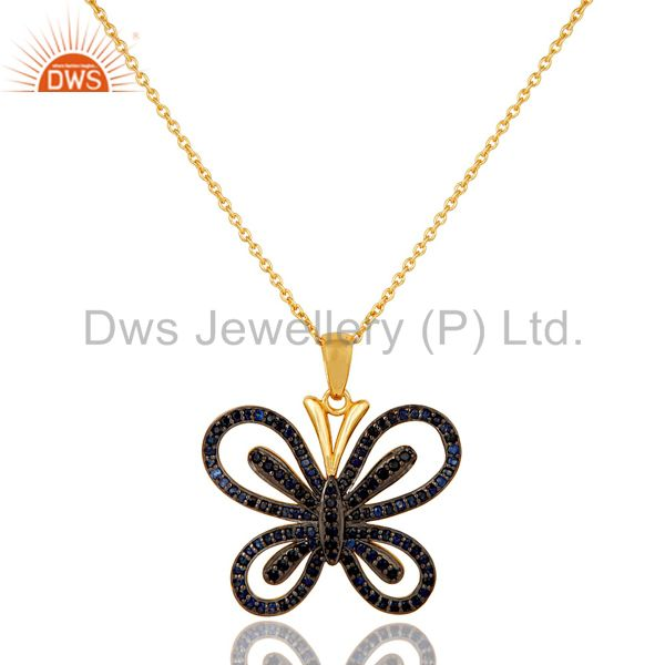 Blue Sapphire and 18K Gold Plated Sterling Silver Butterfly Pendant Necklace